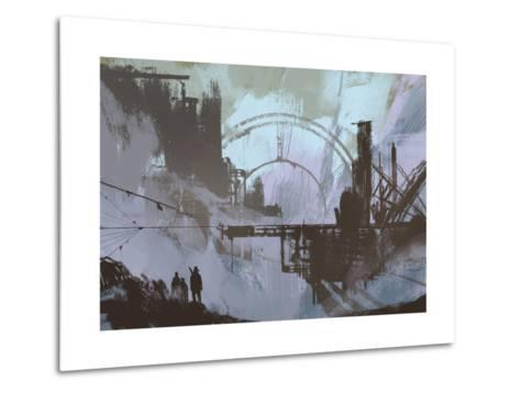 Illustration of a Dark City,Digital Painting,Concept Art-Tithi Luadthong-Metal Print