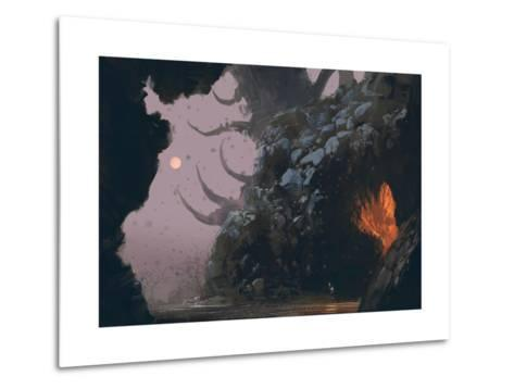 Fantasy Landscape with Mystery Cave,Digital Painting,Illustration-Tithi Luadthong-Metal Print