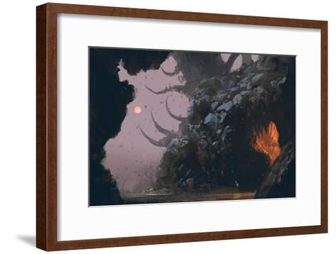Fantasy Landscape with Mystery Cave,Digital Painting,Illustration-Tithi Luadthong-Framed Art Print