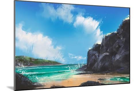 Beautiful Beach Summer Natural Outdoor,Digital Painting-Tithi Luadthong-Mounted Art Print