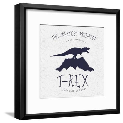 Typography Label.Angry Dinosaur on the Mountain.Print Design for T-Shirts. Vector Illustration-Dimonika-Framed Art Print