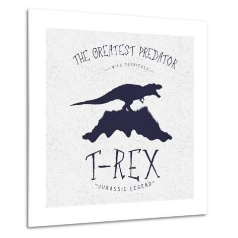 Typography Label.Angry Dinosaur on the Mountain.Print Design for T-Shirts. Vector Illustration-Dimonika-Metal Print