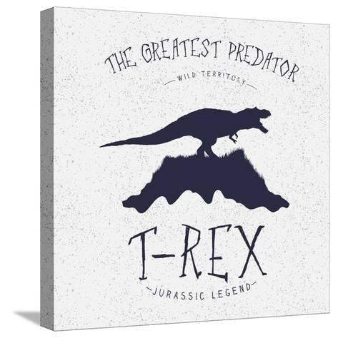 Typography Label.Angry Dinosaur on the Mountain.Print Design for T-Shirts. Vector Illustration-Dimonika-Stretched Canvas Print