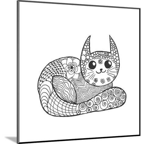Cute Kitten. Black White Hand Drawn Doodle Animal. Ethnic Patterned Vector Illustration. African, I- Palomita-Mounted Art Print