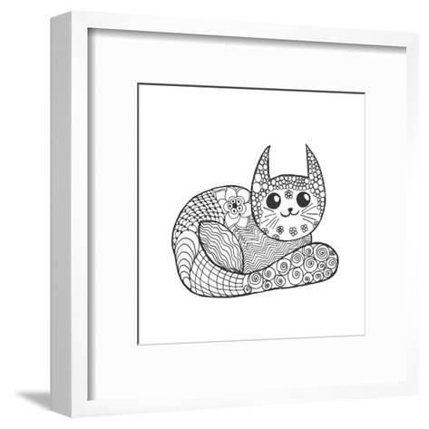 Cute Kitten. Black White Hand Drawn Doodle Animal. Ethnic Patterned Vector Illustration. African, I- Palomita-Framed Art Print