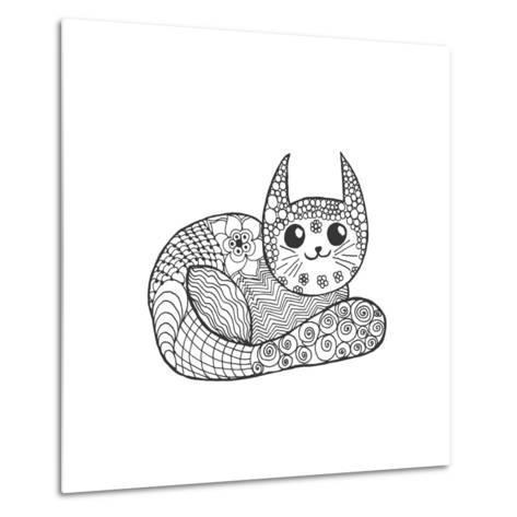 Cute Kitten. Black White Hand Drawn Doodle Animal. Ethnic Patterned Vector Illustration. African, I- Palomita-Metal Print