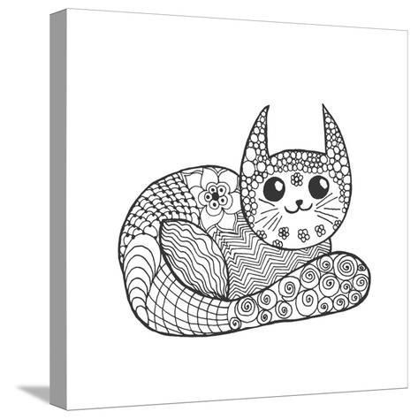 Cute Kitten. Black White Hand Drawn Doodle Animal. Ethnic Patterned Vector Illustration. African, I- Palomita-Stretched Canvas Print