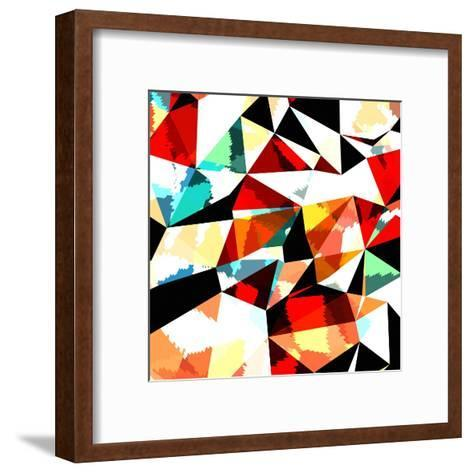 Abstract Background with Triangles and Colorful Geometric Shapes. Texture Pattern for Covers, Banne- Romas_Photo-Framed Art Print