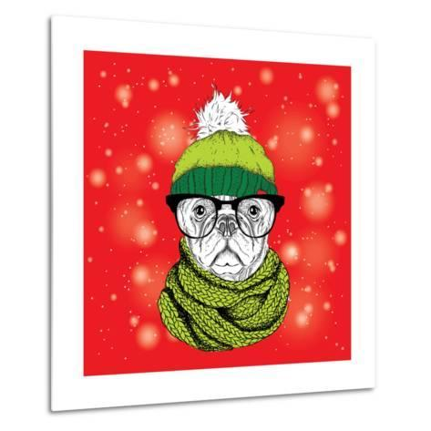The Christmas Poster with the Image Dog Portrait in Winter Hat. Vector Illustration.-Sunny Whale-Metal Print