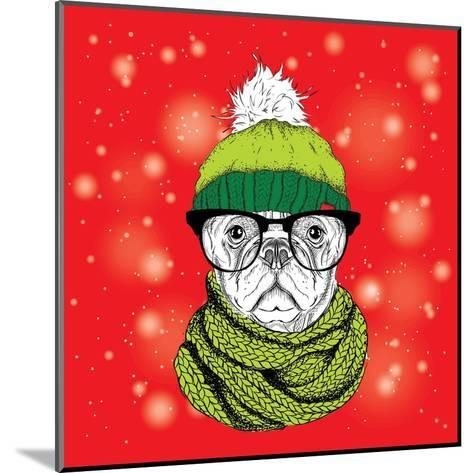 The Christmas Poster with the Image Dog Portrait in Winter Hat. Vector Illustration.-Sunny Whale-Mounted Art Print