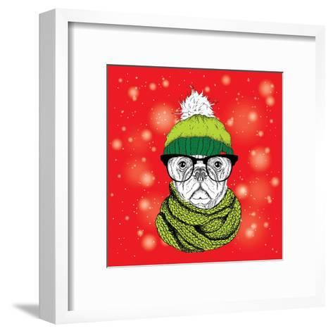 The Christmas Poster with the Image Dog Portrait in Winter Hat. Vector Illustration.-Sunny Whale-Framed Art Print