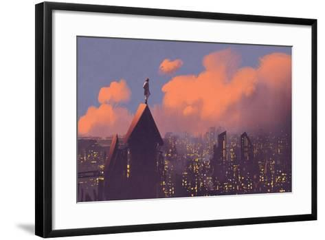Man Watching over the City,Illustration Painting-Tithi Luadthong-Framed Art Print