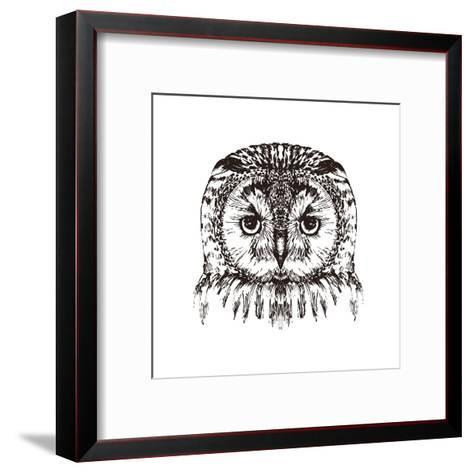Hand Drawn Owl Portrait, Vector Illustration- Melek8-Framed Art Print