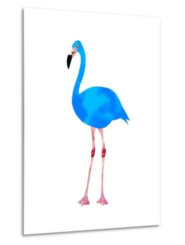 Vibrant Dark Blue Flamingo Bird Low Poly Triangle Vector Image-Samantha Jo Czerpak-Metal Print