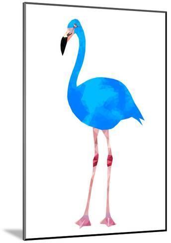 Vibrant Dark Blue Flamingo Bird Low Poly Triangle Vector Image-Samantha Jo Czerpak-Mounted Art Print