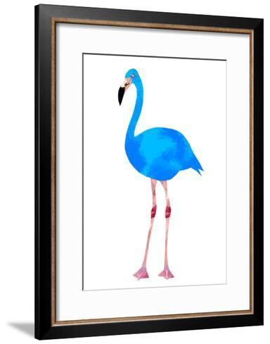 Vibrant Dark Blue Flamingo Bird Low Poly Triangle Vector Image-Samantha Jo Czerpak-Framed Art Print