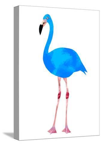 Vibrant Dark Blue Flamingo Bird Low Poly Triangle Vector Image-Samantha Jo Czerpak-Stretched Canvas Print