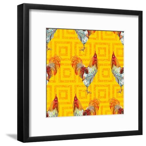 Vintage Seamless Pattern with Farm Animal Rooster. Sketch Style. Vector Background. Perfect for Wal- artskvortsova-Framed Art Print