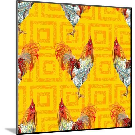 Vintage Seamless Pattern with Farm Animal Rooster. Sketch Style. Vector Background. Perfect for Wal- artskvortsova-Mounted Art Print