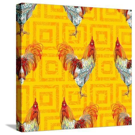 Vintage Seamless Pattern with Farm Animal Rooster. Sketch Style. Vector Background. Perfect for Wal- artskvortsova-Stretched Canvas Print