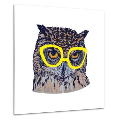 Hand Drawn Owl Face with Yellow Glasses, Isolated on White, Vector Illustration- Melek8-Metal Print
