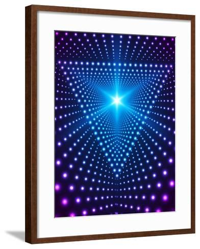 Triangle Border with Light Effects. Concept for Party Flyers, Music Posters and Disco Graphic Desig-SkillUp-Framed Art Print