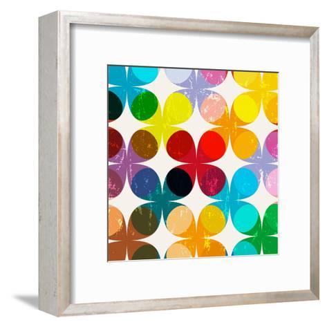 Abstract Geometric Pattern Background, Halftone, Retro/Vintage Style-Kirsten Hinte-Framed Art Print