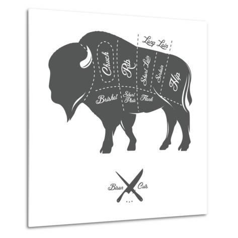 Vintage Butcher Cuts of Bison Buffalo Scheme Diagram-Ivan Baranov-Metal Print