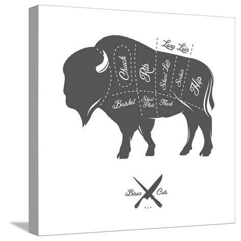 Vintage Butcher Cuts of Bison Buffalo Scheme Diagram-Ivan Baranov-Stretched Canvas Print