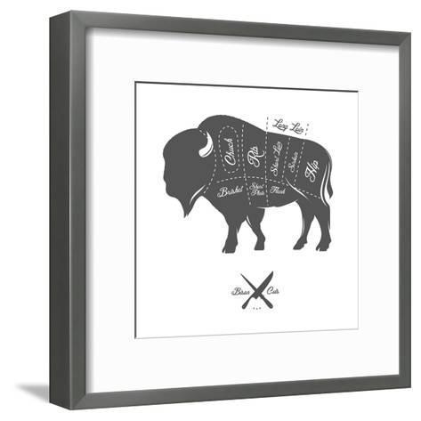 Vintage Butcher Cuts of Bison Buffalo Scheme Diagram-Ivan Baranov-Framed Art Print
