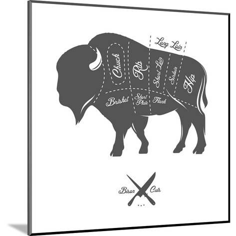 Vintage Butcher Cuts of Bison Buffalo Scheme Diagram-Ivan Baranov-Mounted Art Print