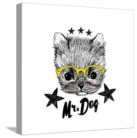 Puppy and Yellow Glasses Illustration Isolated on White Background- shekaka-Stretched Canvas Print