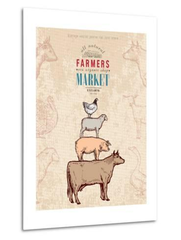 Farm Shop Vintage Poster Retro Butcher Shop Farm Animals Livestock Farming Poster Hand Drawn Ink Ve-intueri-Metal Print