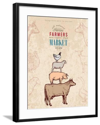 Farm Shop Vintage Poster Retro Butcher Shop Farm Animals Livestock Farming Poster Hand Drawn Ink Ve-intueri-Framed Art Print