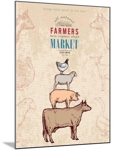 Farm Shop Vintage Poster Retro Butcher Shop Farm Animals Livestock Farming Poster Hand Drawn Ink Ve-intueri-Mounted Art Print