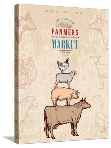Farm Shop Vintage Poster Retro Butcher Shop Farm Animals Livestock Farming Poster Hand Drawn Ink Ve-intueri-Stretched Canvas Print