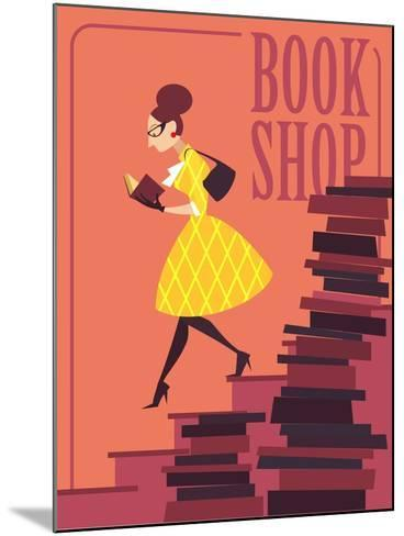 Vector illustration of bookstore, books shop, library. Retro poster design. Girl reading a book.-Porcelain White-Mounted Art Print