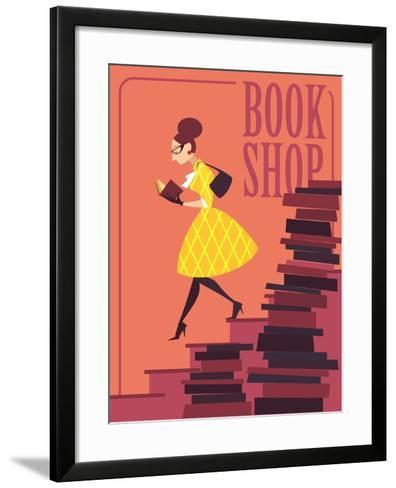 Vector illustration of bookstore, books shop, library. Retro poster design. Girl reading a book.-Porcelain White-Framed Art Print