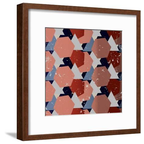 Grunge Geometric Background. Vector Illustration-Veronika M-Framed Art Print