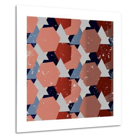 Grunge Geometric Background. Vector Illustration-Veronika M-Metal Print
