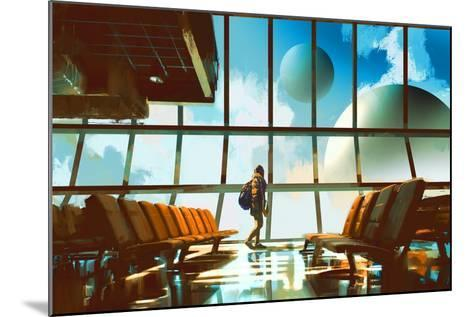 Young Girl Walking in Airport Looking Planets through Window,Illustration Painting-Tithi Luadthong-Mounted Art Print