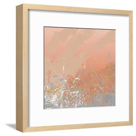 Grunge Retro Vintage Paper Texture, Grungy Old Brown Background, Illustration Design Element- xpixel-Framed Art Print