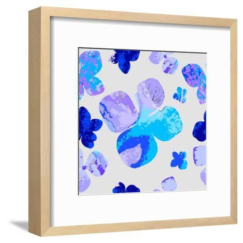 Vector Floral Watercolor Texture Pattern with Flowers.Watercolor Floral Pattern.Blue Flowers Patter- GalinaL-Framed Art Print