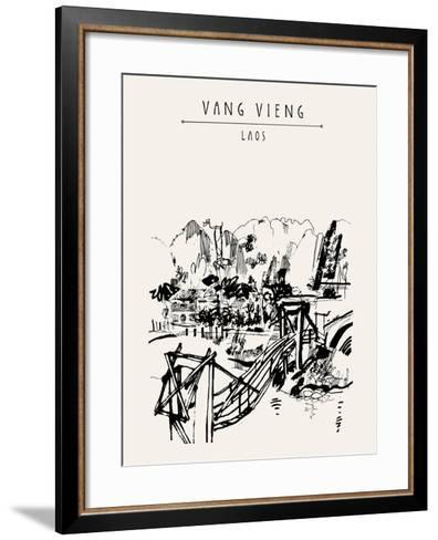 Wooden Bridge, Mountains, Riverside and a Guesthouse in Vang Vieng, Laos, Southeast Asia. Vintage H-babayuka-Framed Art Print