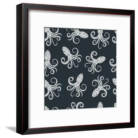 Vintage Seamless Pattern with Typography Monochrome Octopus Silhouette, and Hand Drawn Style Font.-Vitaliy Zuyenko-Framed Art Print