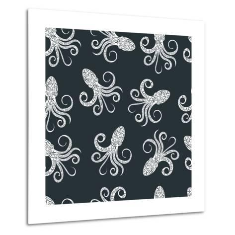 Vintage Seamless Pattern with Typography Monochrome Octopus Silhouette, and Hand Drawn Style Font.-Vitaliy Zuyenko-Metal Print