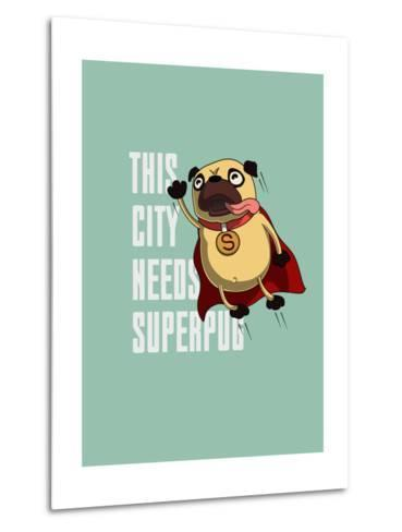 Funny Cartoon Character Pug Design for Tee. Pug Flying in the Sky. Pug Puppy Superhero. Design for- Just_Draw-Metal Print