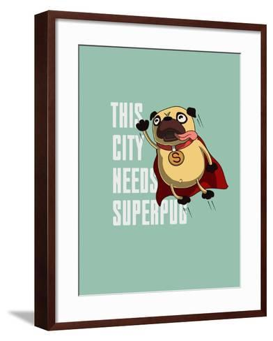 Funny Cartoon Character Pug Design for Tee. Pug Flying in the Sky. Pug Puppy Superhero. Design for- Just_Draw-Framed Art Print