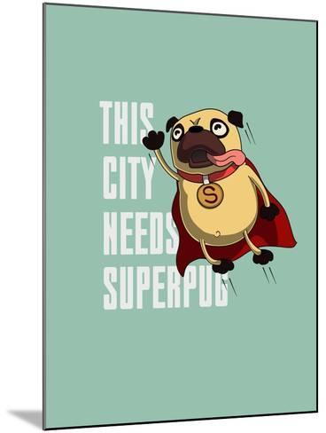 Funny Cartoon Character Pug Design for Tee. Pug Flying in the Sky. Pug Puppy Superhero. Design for- Just_Draw-Mounted Art Print