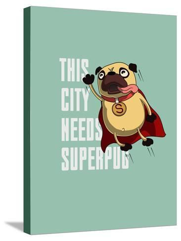 Funny Cartoon Character Pug Design for Tee. Pug Flying in the Sky. Pug Puppy Superhero. Design for- Just_Draw-Stretched Canvas Print
